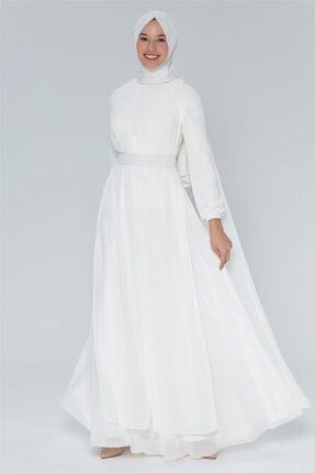 Armine Kadın Ekru Şifon Detaylı Abiye Elbise
