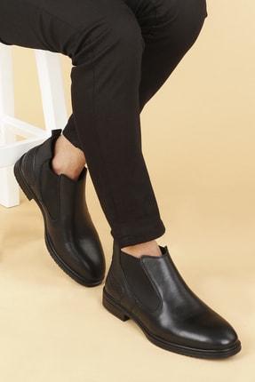 Ayakland Erkek Siyah Deri Kauçuk Taban Bot Ayakkabı Hrz 099