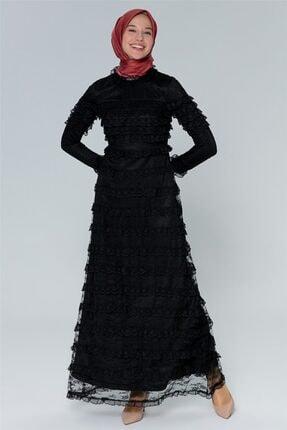 Armine Kadın Siyah Tül Detaylı Abiye Elbise 20y1506