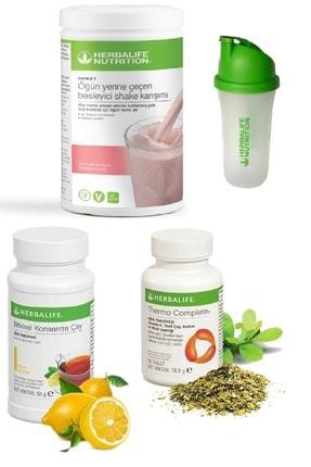 Herbalife Set Ahududu Beyaz Çikolata Shake 50 gr Limon Aromalı Çay  Thermo Complete ve Shaker