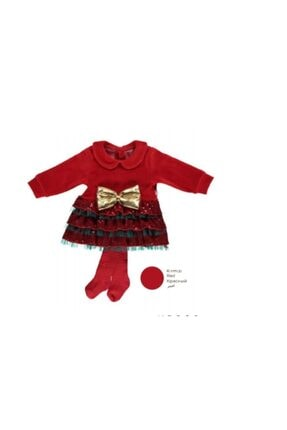 Bebetto Kız Bebek Yılbaşı Konsept Kadife Bebe Yaka Elbise 2'li Takım