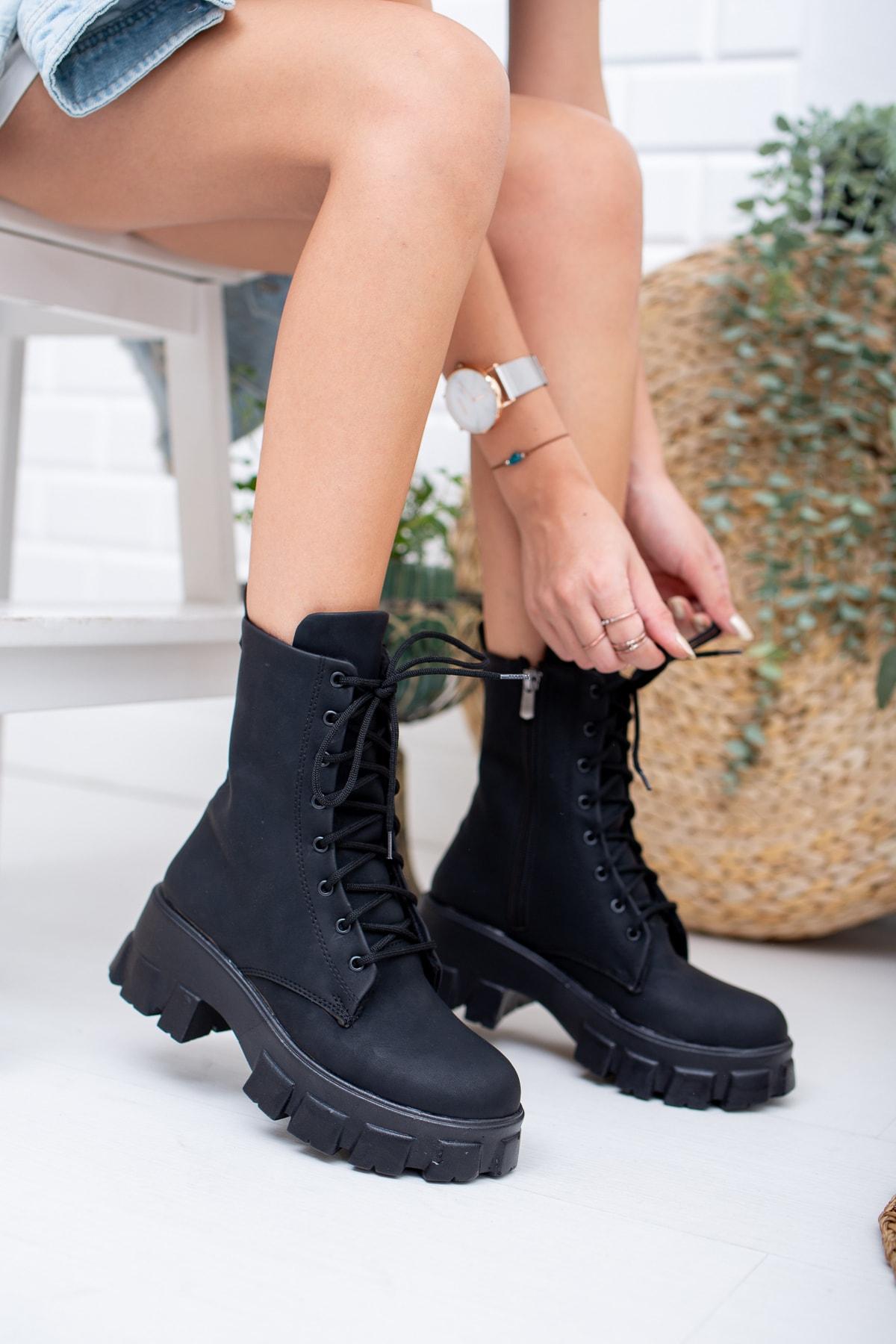 Moda Değirmeni Siyah Zümrüt Kadın Bot Md1001-116-0002 1
