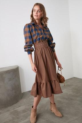 TRENDYOLMİLLA Kahverengi Kemerli Elbise TWOAW21EL0861