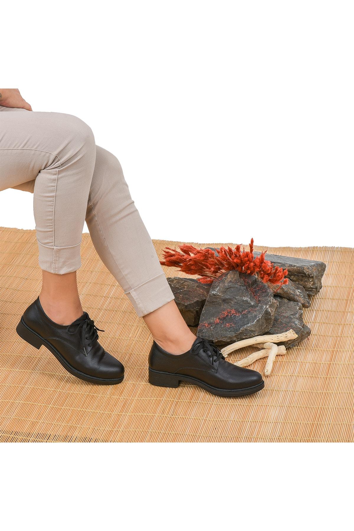Moosefield Kadın Siyah Hakiki Deri Ayakkabı 1