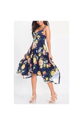 adalıbutik Kadın Laciverti Çiçek Desenli Salaş Midi Elbise
