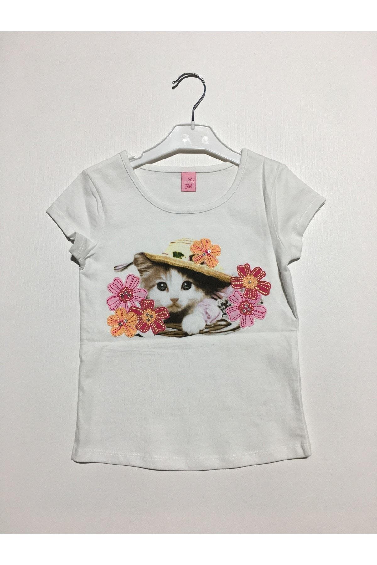 Adams Kız Çocuk Ekru Kedicik Tişört 1