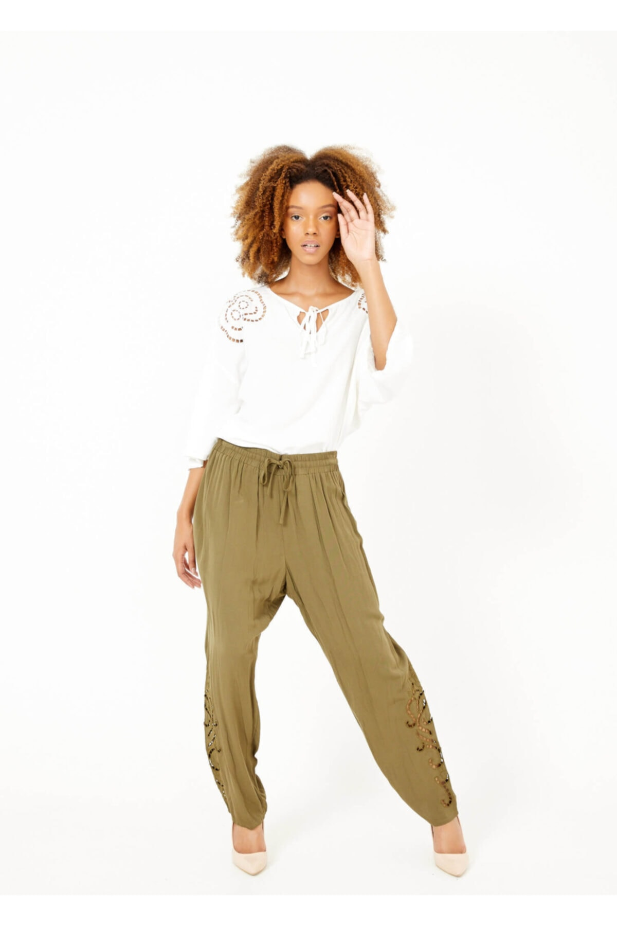 Adze Kadın Haki Paça Detaylı Bel Lastikli Pantolon 2