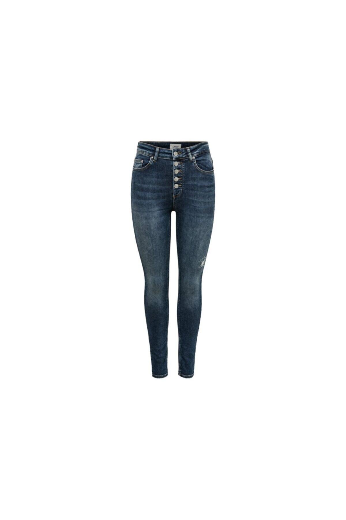 Only Kadın Mavi Onlblush Hw Button Sk Ank Jeans Rea3278 Pantolon 1