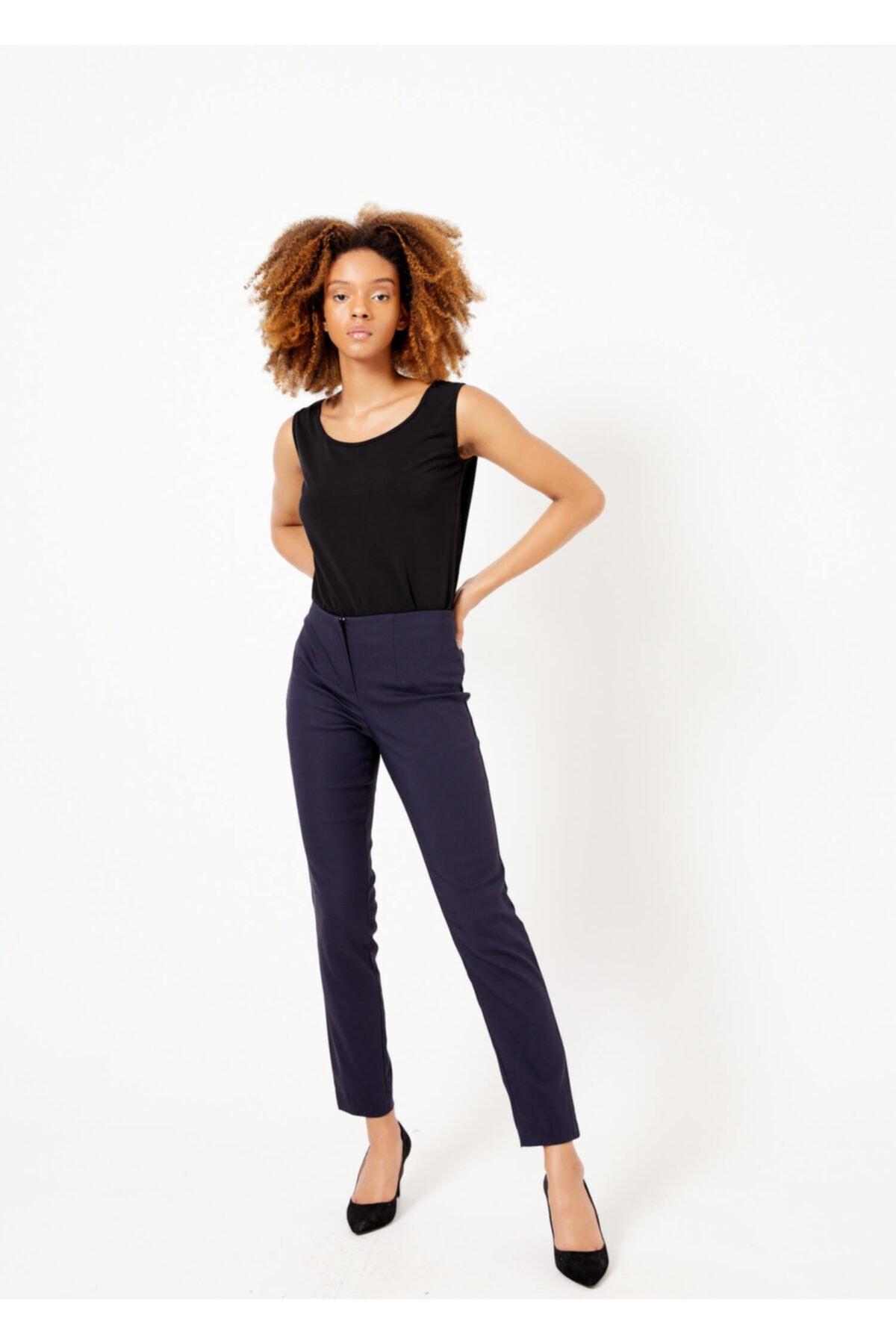 Adze Kadın Lacivert Fermuarlı Pantolon 2