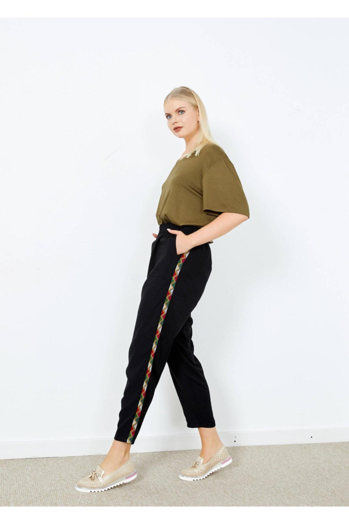 Adze Kadın Siyah Yan Işlemeli Cepli Bol Paça Pantolon 2