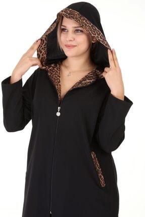 Piano Luce Kadın Siyah Leopar Desen Kapşonlu Ceket