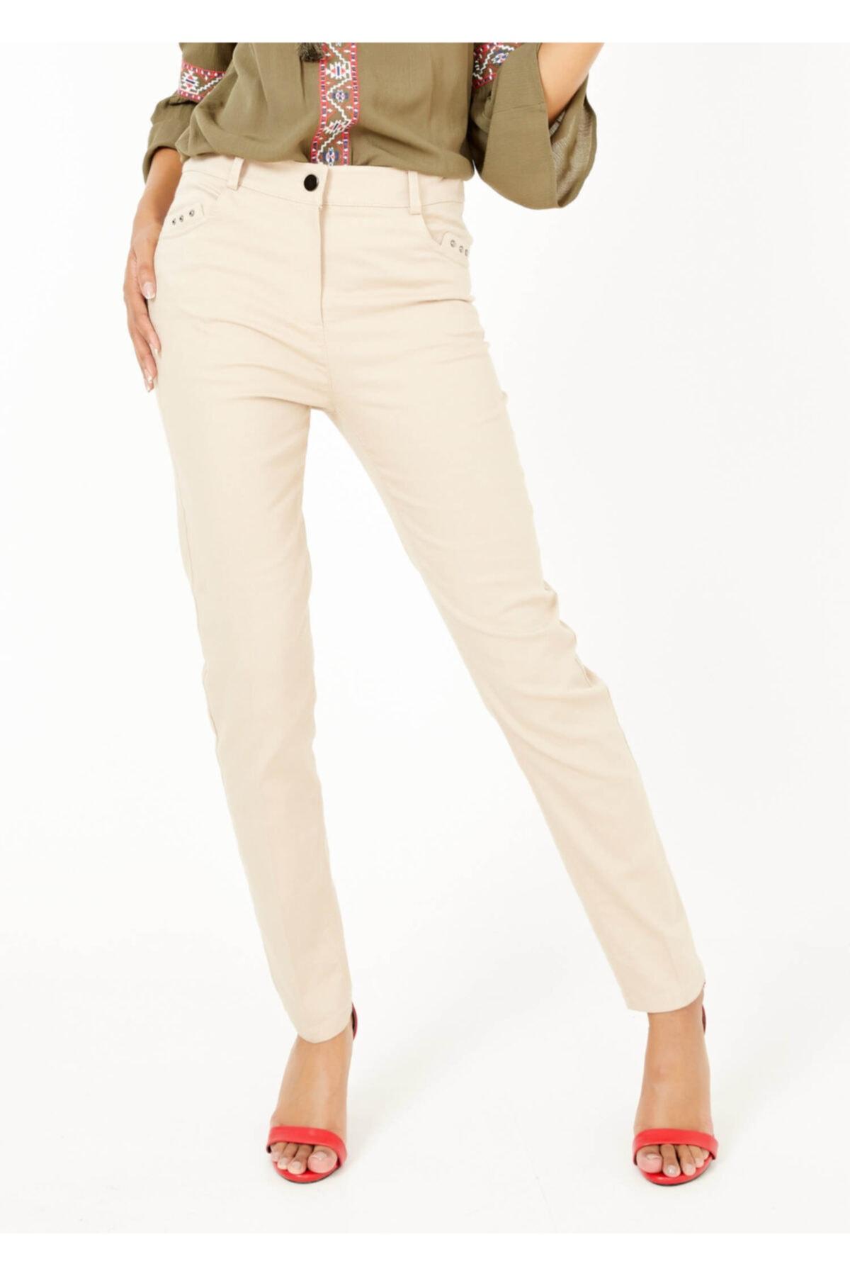 Adze Kadın Bej Slim Fit Likralı Pantalon Bej 1