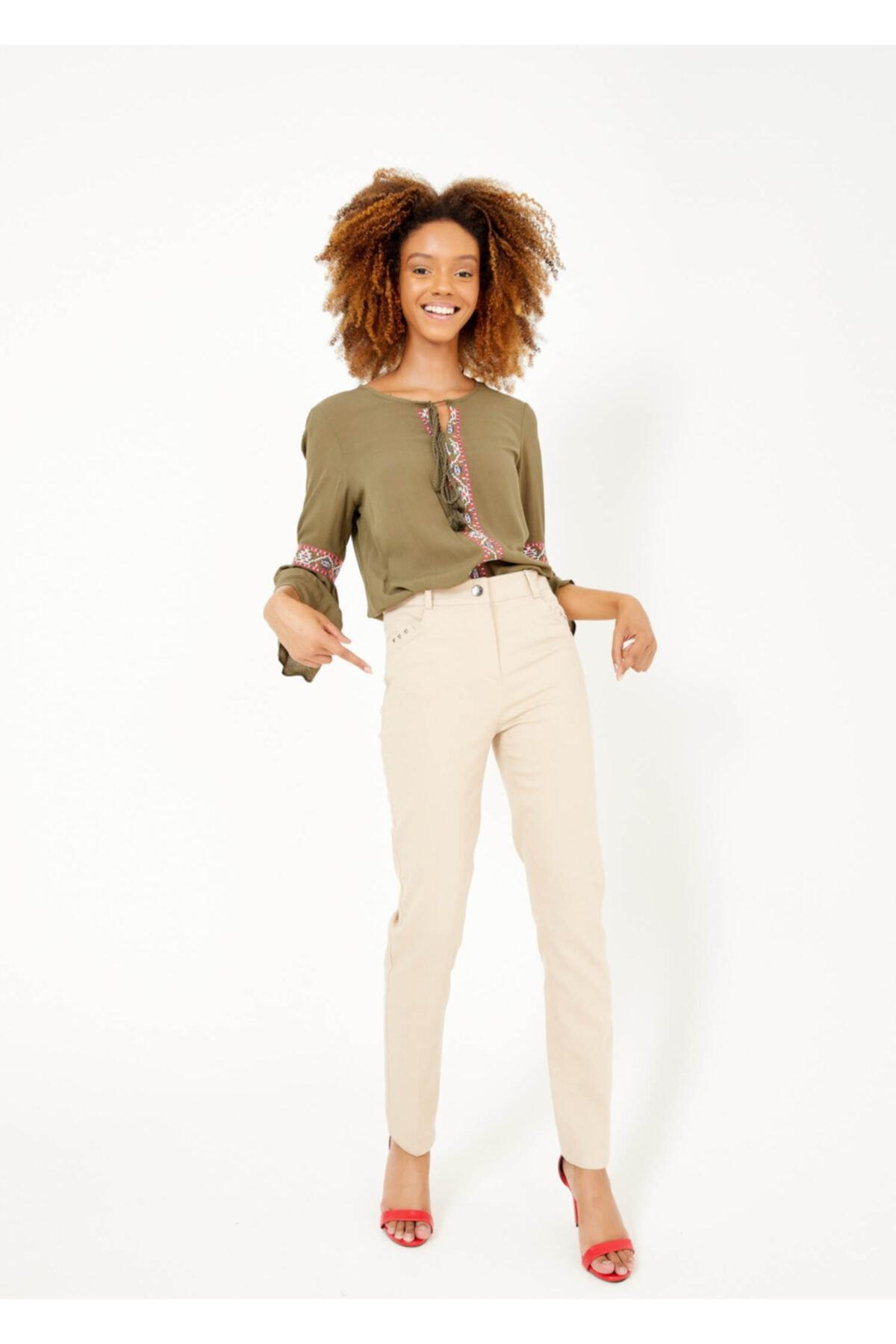 Adze Kadın Bej Slim Fit Likralı Pantalon Bej 2