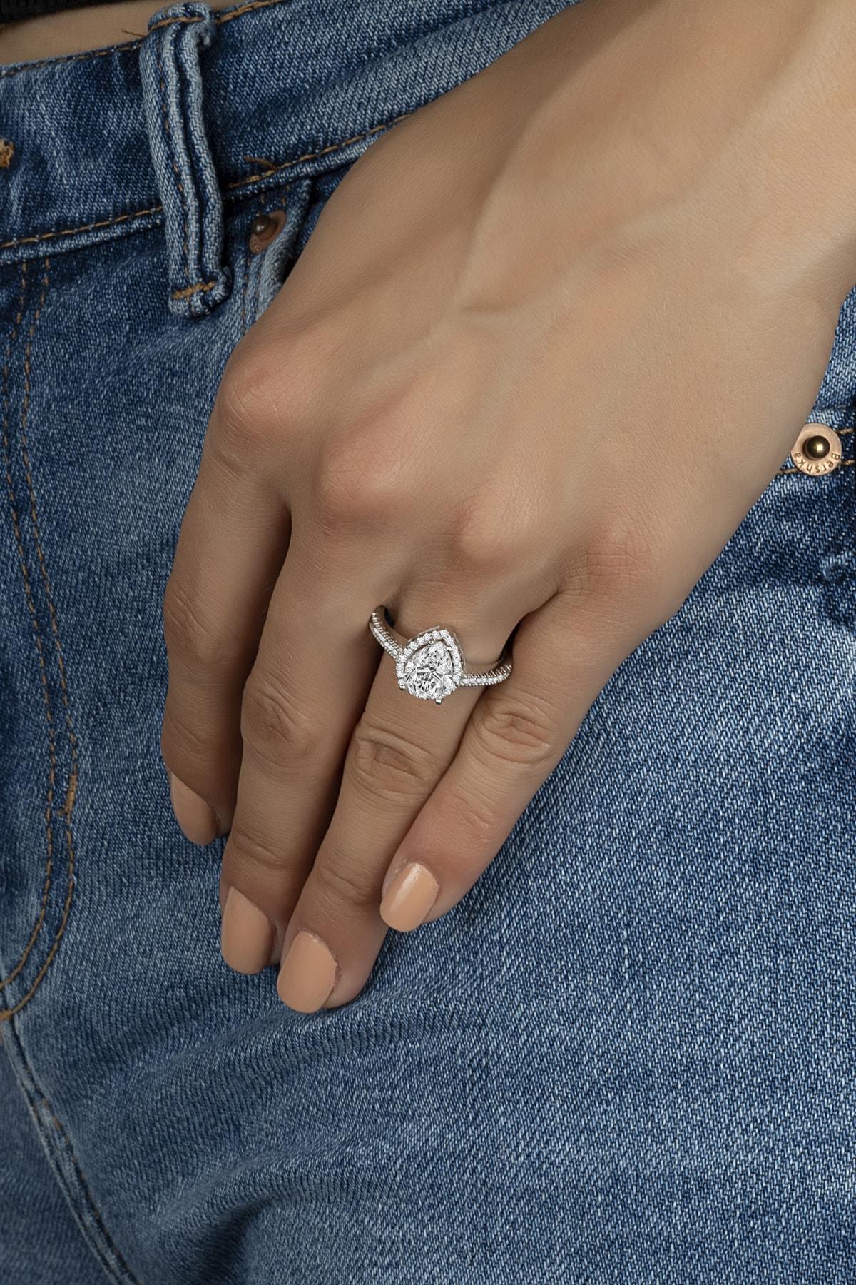 Else Silver Damla Tek Taşlı Pırlanta Tasarımı Gümüş Bayan Yüzüğü 1