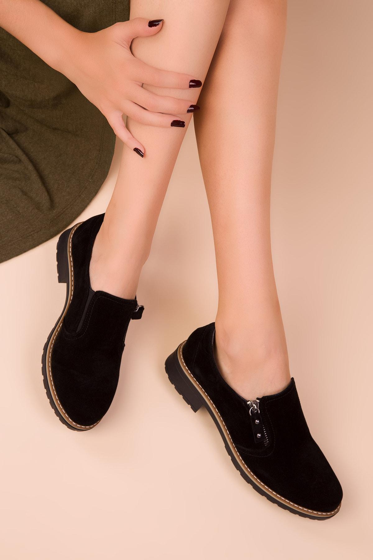 SOHO Siyah Süet Kadın Casual Ayakkabı 15472 1
