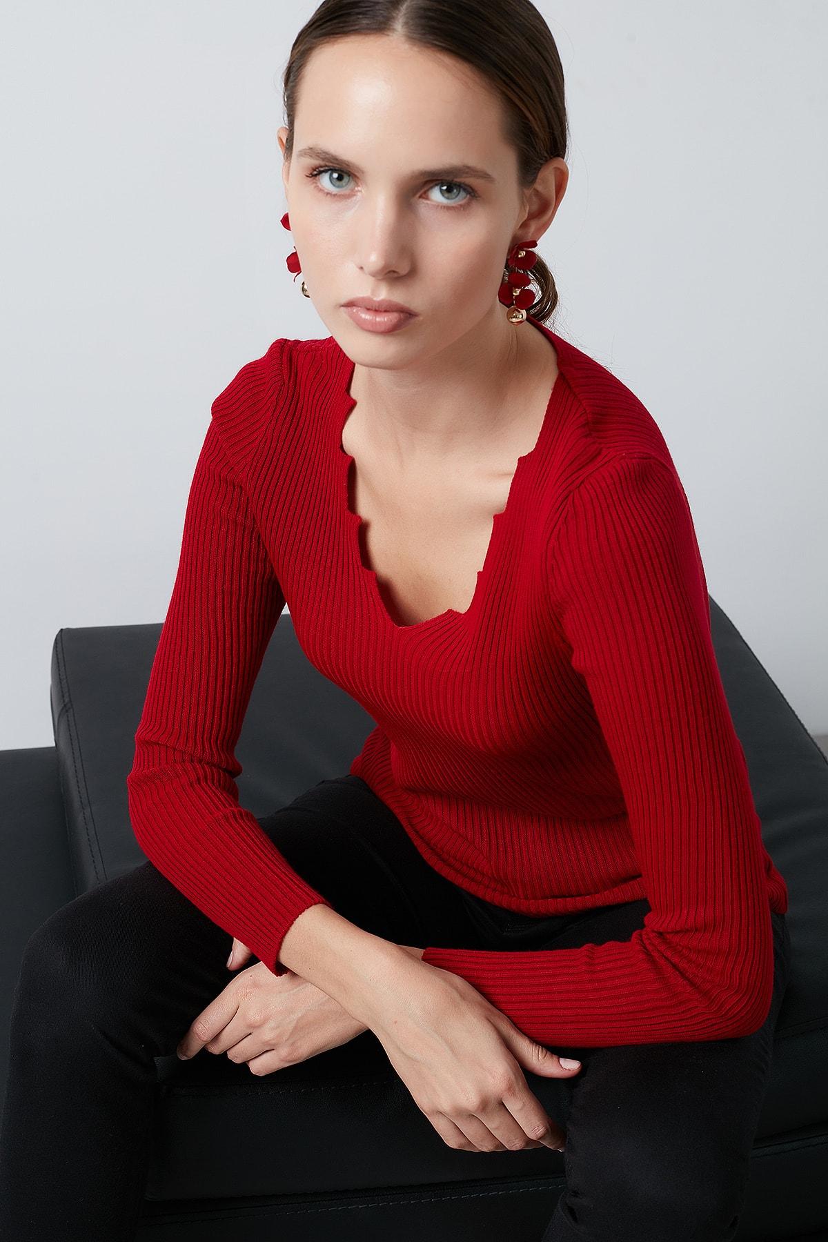 Lela Kırmızı V Yaka Kazak Kadın Kazak 4614760