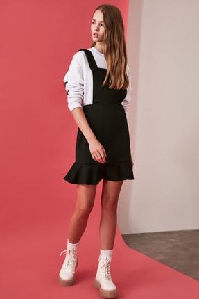 TRENDYOLMİLLA Siyah Düğme Detaylı Volanlı Jile Elbise TWOAW21EL1304
