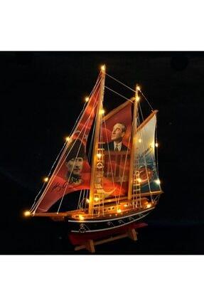 YİĞİTOĞLU DESIGN Özel Tasarım Atatürk Yelkenli El Yapımı Büyük Boy Premium Doğal Ahşap Gemi Maketi M6