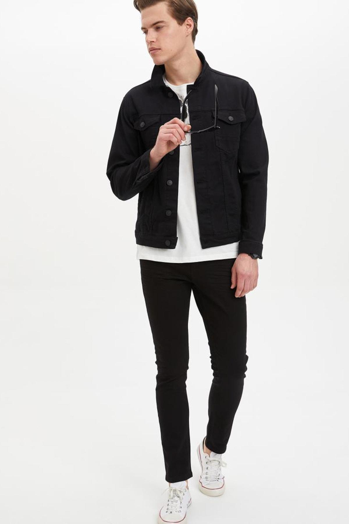 DeFacto Erkek Siyah Kot Basic Slim Fit Jean Ceket M4851AZ.20SP.NM40 2