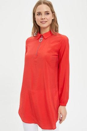 DeFacto Kadın Modest Kırmızı Gömlek Yaka Düğmeli Tunik L3887AZ.20SP.RD227