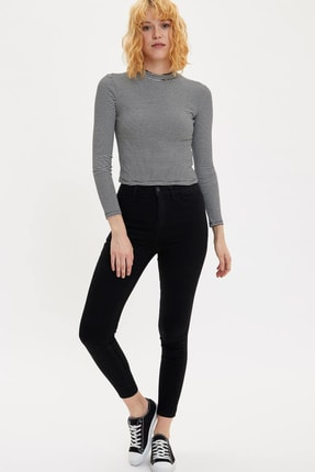 DeFacto Kadın Siyah Kot Anna Yüksek Bel Super Skinny Jean Pantolon L0595AZ.20SP.NM40