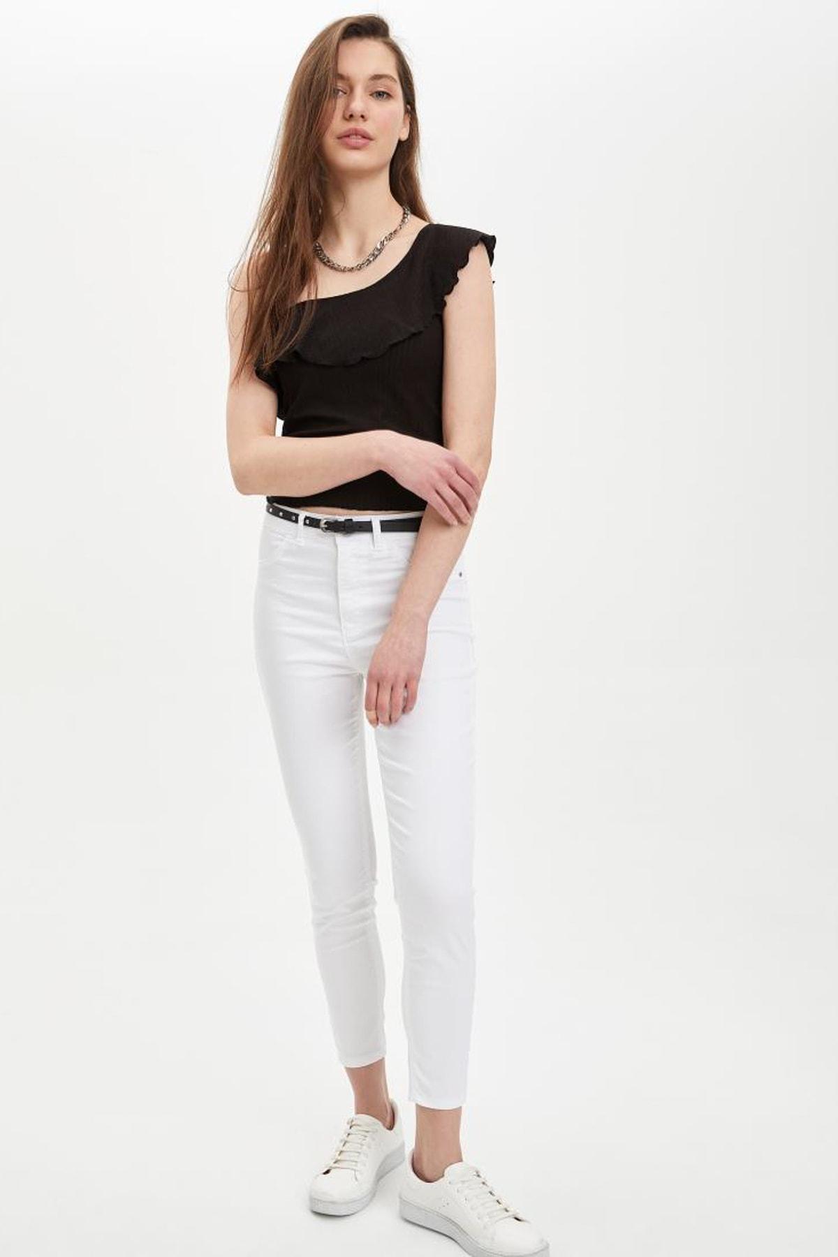 DeFacto Kadın Beyaz Anna Super Skinny Dokuma Pantolon M2223AZ.20SM.WT34 1