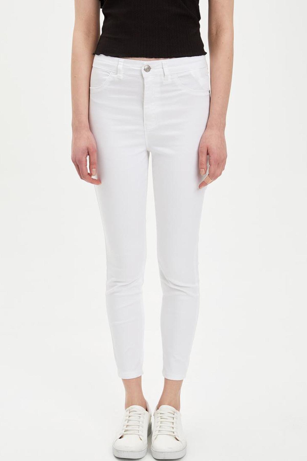 DeFacto Kadın Beyaz Anna Super Skinny Dokuma Pantolon M2223AZ.20SM.WT34 2
