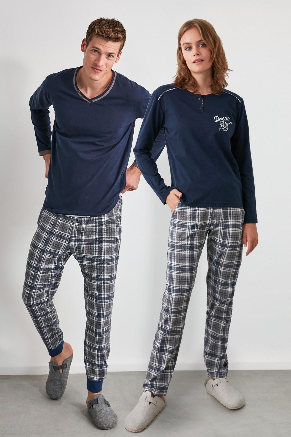 TRENDYOL MAN Ekoseli Örme Pijama Takımı THMAW21PT0403 1