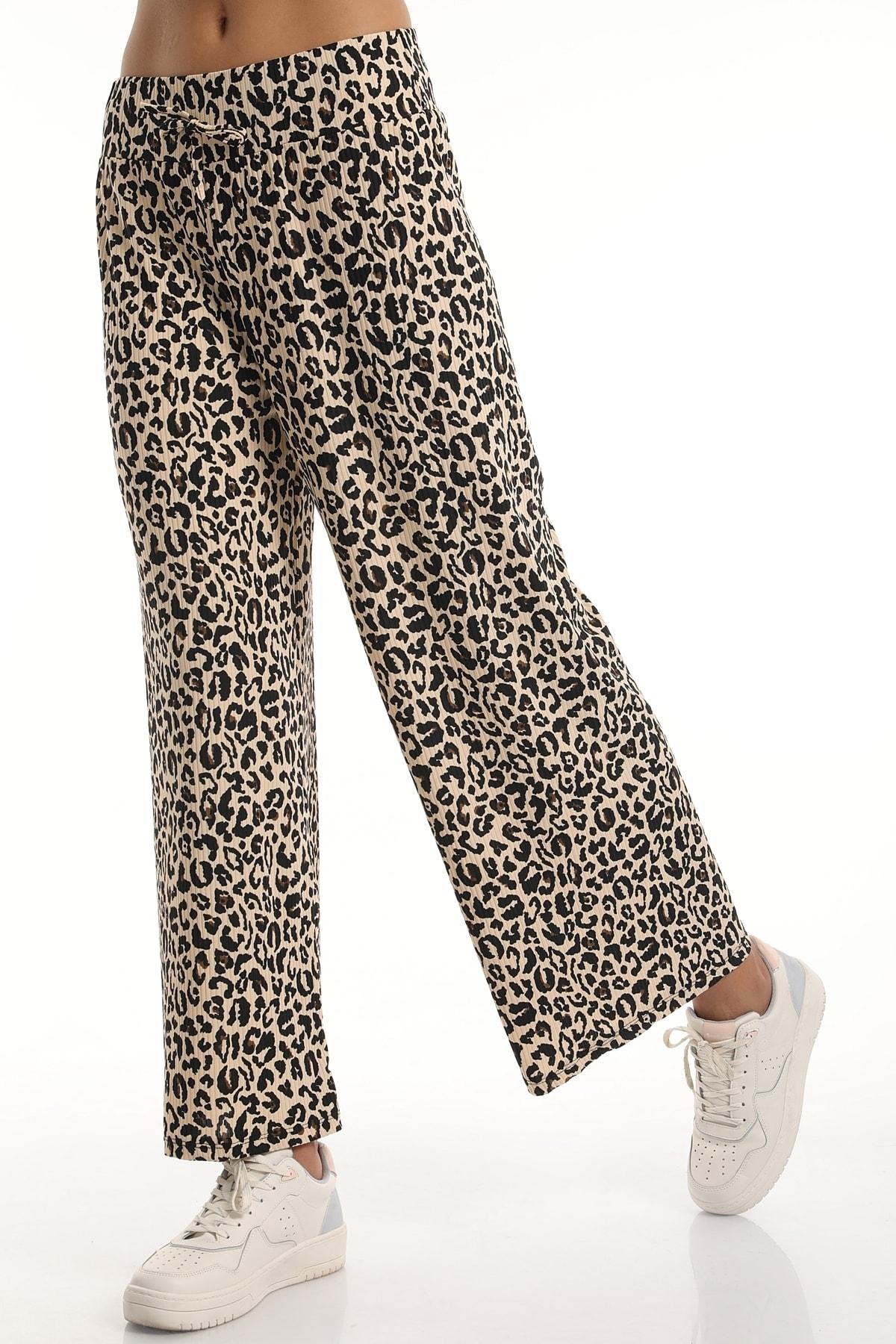 MD trend Kadın Bel Lastikli Salaş Bol Paça Pantolon/leopar/s 2