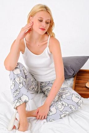 Trend Alaçatı Stili Kadın Gri Polar Pijama Altı MTX-1001