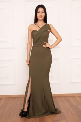 PULLIMM Kadın Haki Yırtmaçlı İnci Detaylı Uzun Elbise