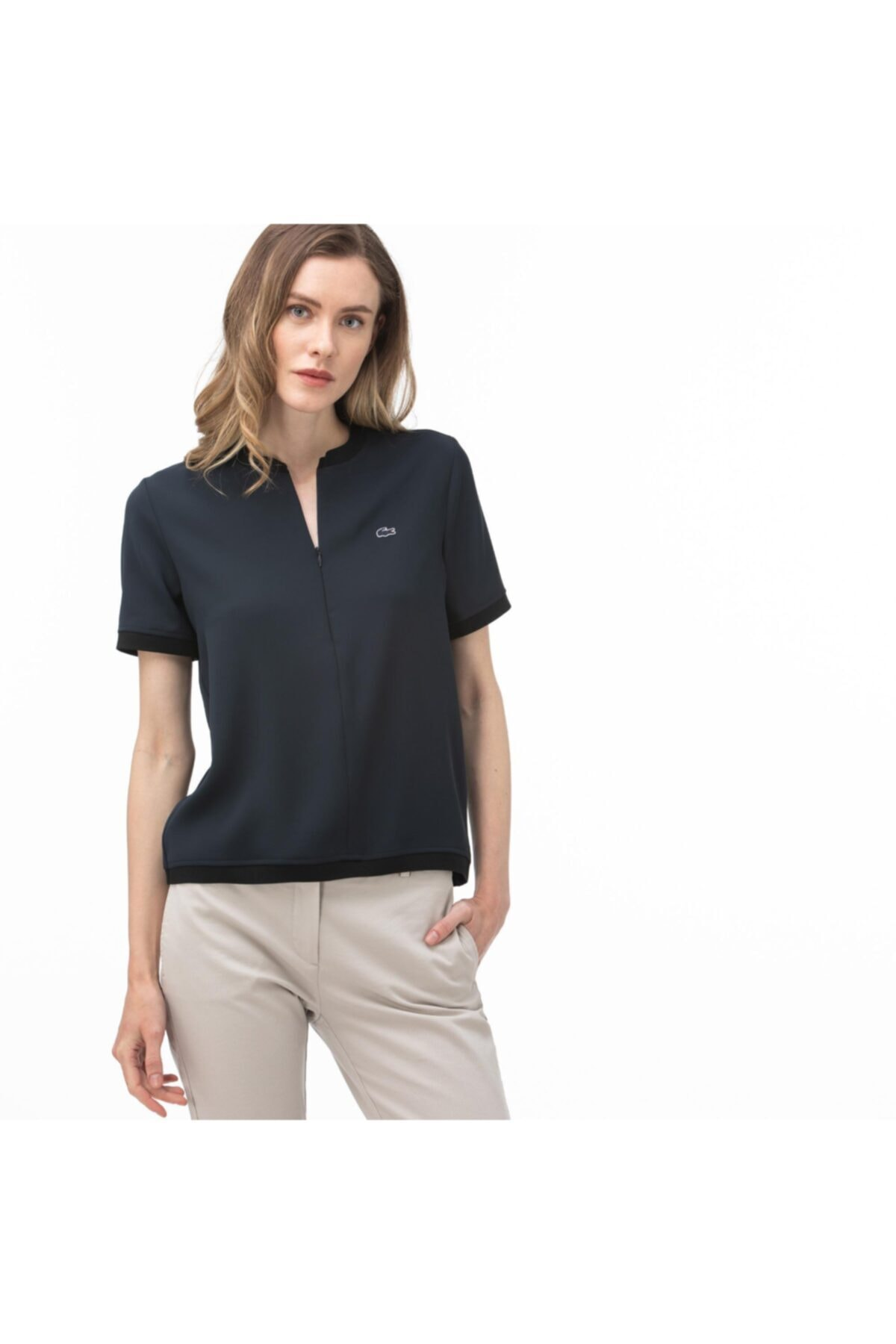 Lacoste Kadın Lacivert Fermuarlı Yaka Bluz 1