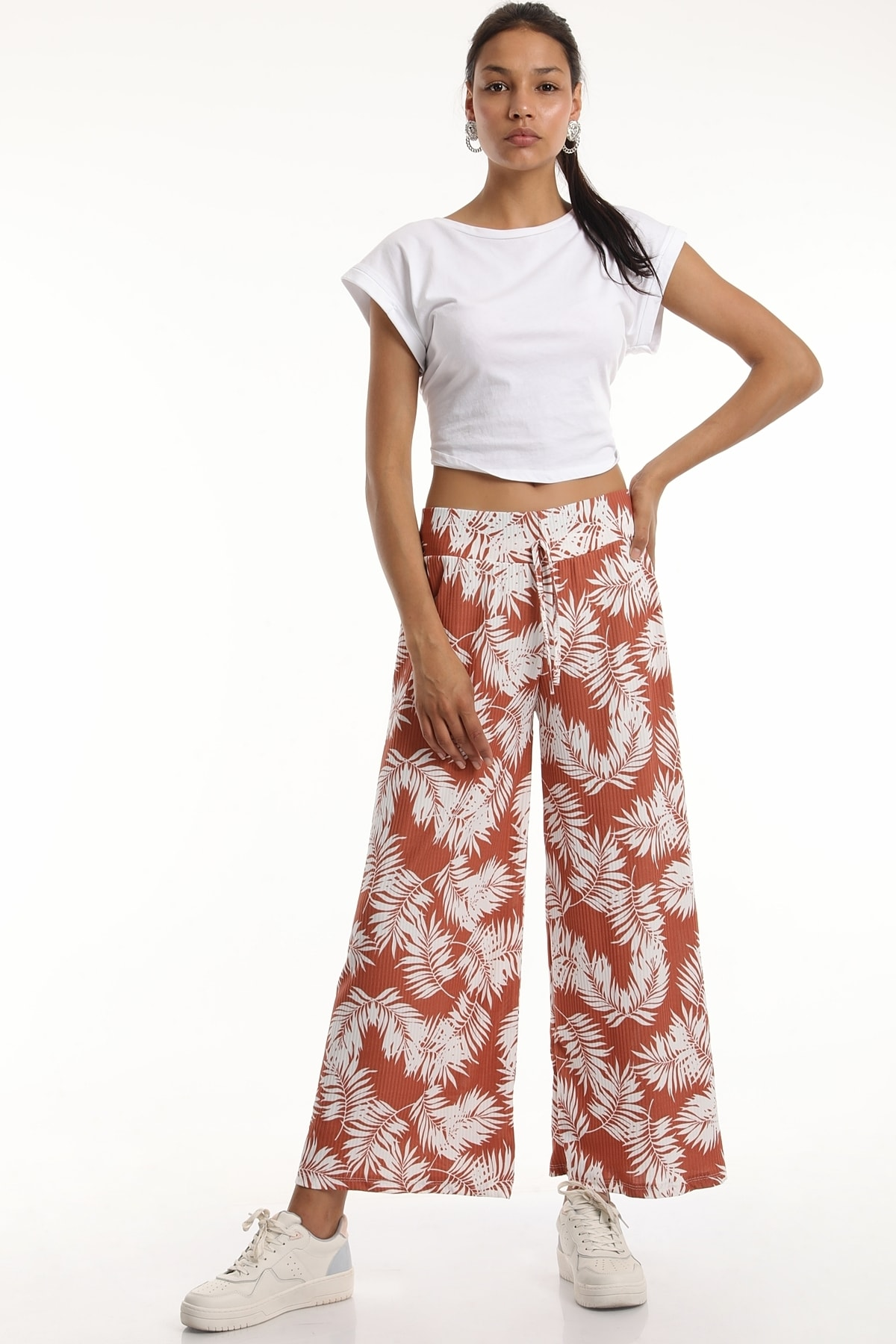 MD trend Kadın Bel Lastikli Salaş Bol Paça Pantolon/kiremit/l 1