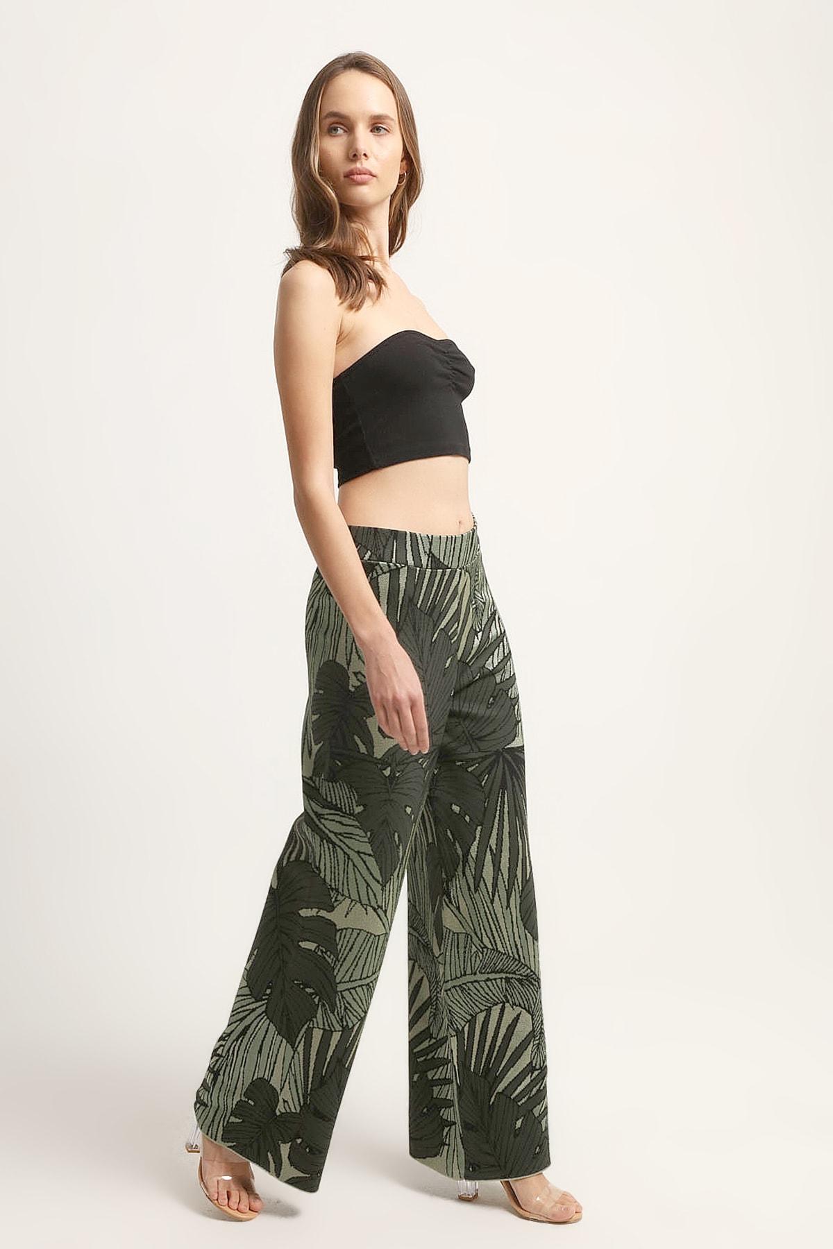 JOIN US Kadın Yaprak Desenli Pantolon 2020S125-YESIL 2