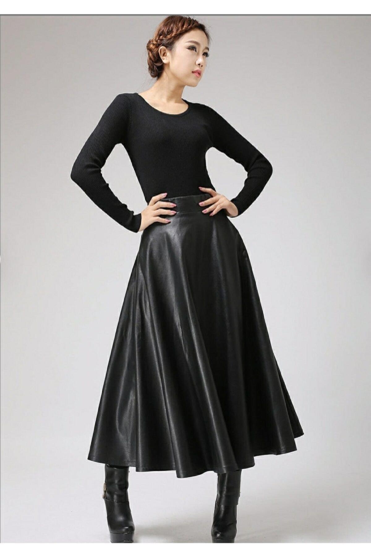 SereSepet Kadın Siyah Uzun Deri Kiloş Etek 2