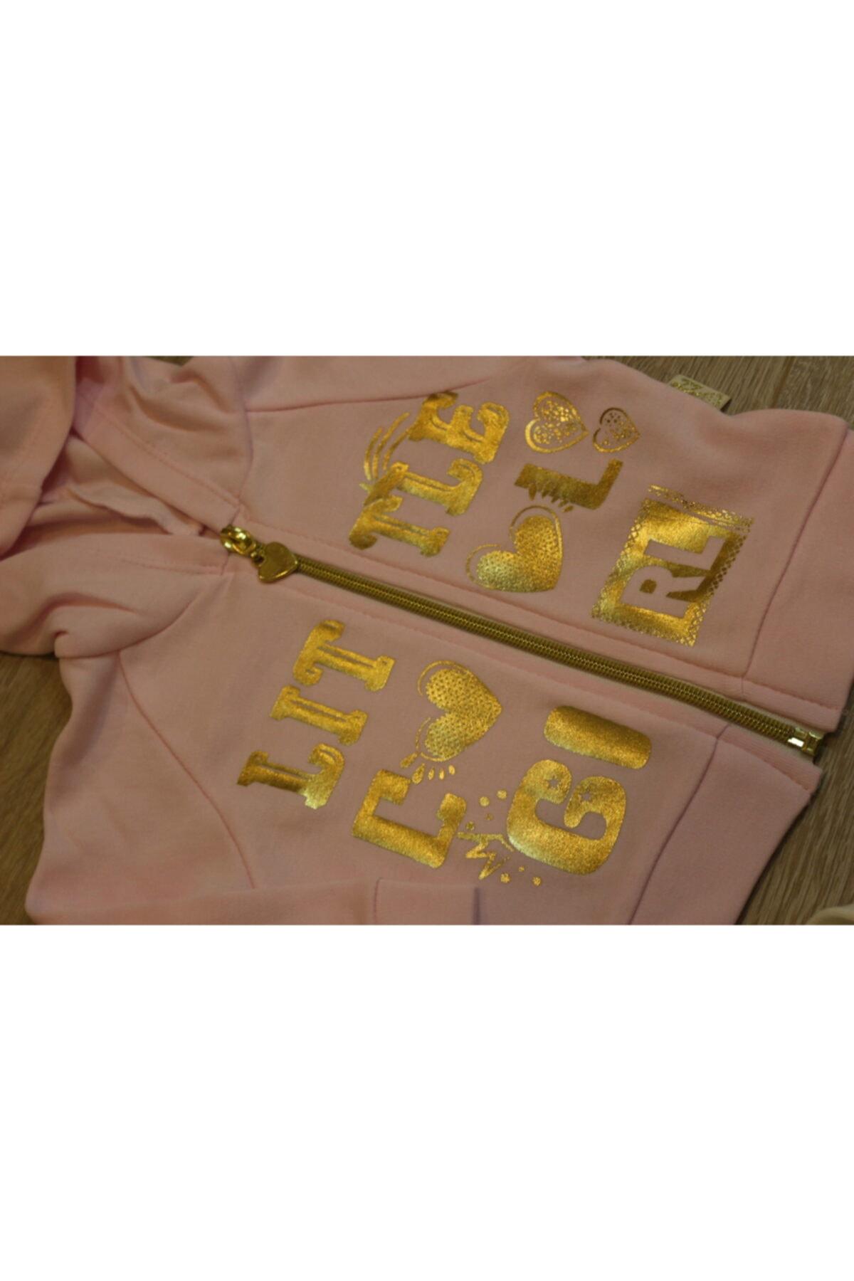 Atalay Çok Şık Gold Detaylı 3lü Kız Bebek Takımı - Şık Koleksiyon - %100 Pamuk 2