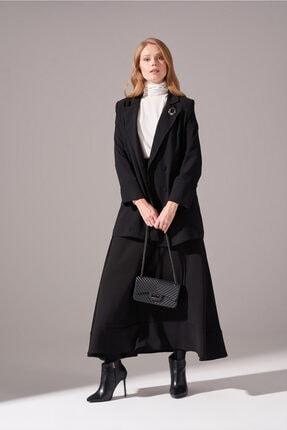 Mizalle Kadın Siyah Krep Salaş Ceket