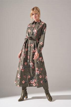 Mizalle Kadın Haki Önden Düğmeli Elbise