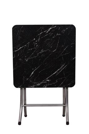 ORMANCA Katlanır Kırma Siyah Mermer Desen 60x60 Katlanabilir Masa