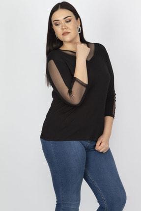 Şans Kadın Siyah Tül Detaylı Viskon Bluz 65N18251