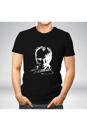 Özkutlu Spor Unisex Siyah Atatürk Baskılı Tişört