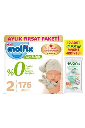 Molfix Pure&soft 2 Beden Mini Aylık Fırsat Paketi 176 Adet + Evony Maske 10'lu Hediyeli