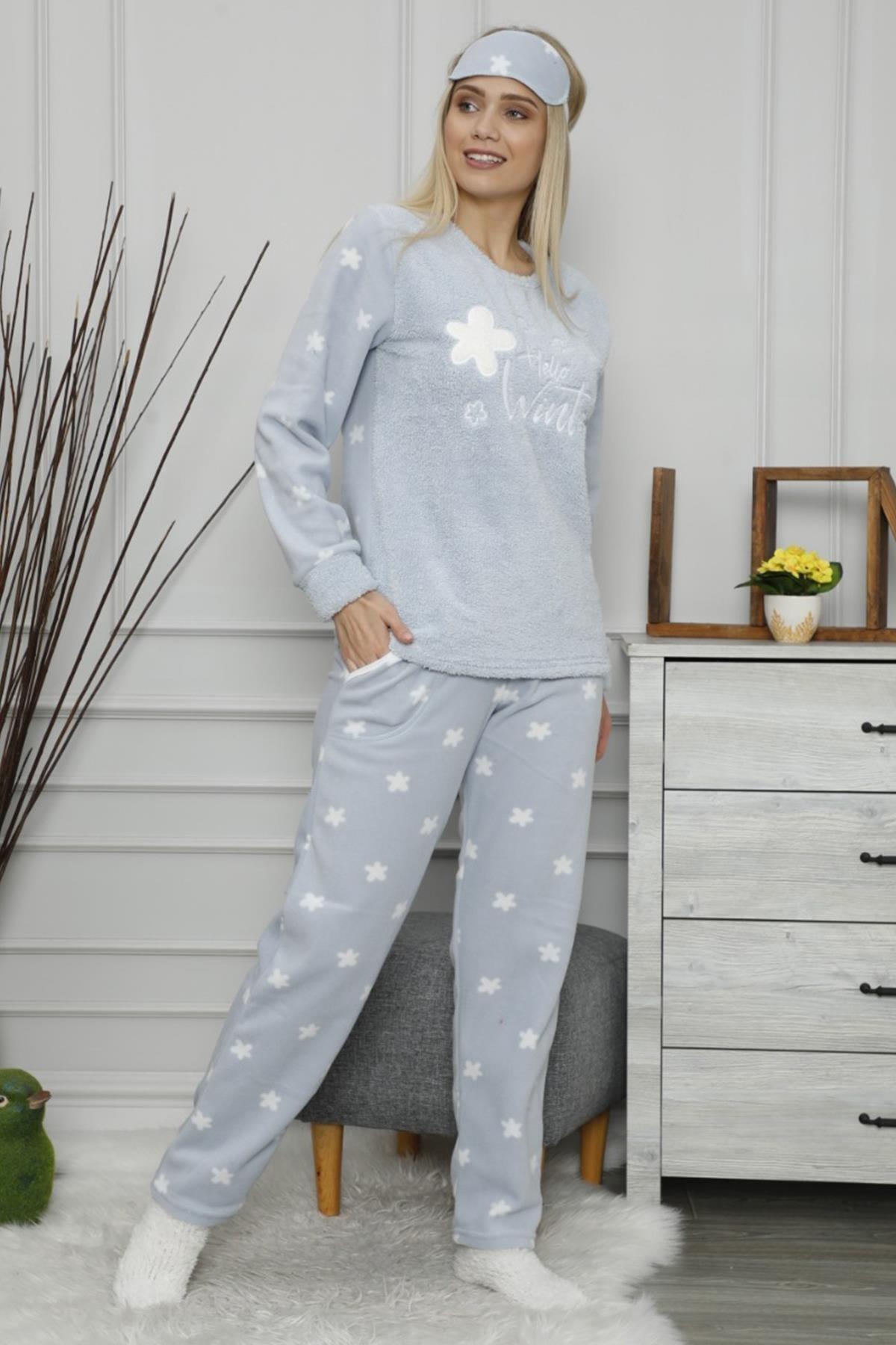 Pijamaevi Kadın Mavi Hello Winter Desenli Peluş Pijama Takımı 2