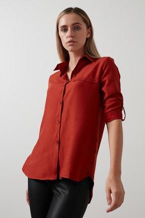 Lela Kadın Kiremit Pamuklu Katlanabilir Uzun Kollu Gömlek