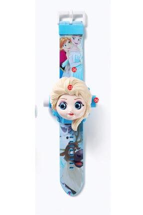Disney Frozen Kız Çocuk Mavi Elsa Frozen Projeksiyonlu Saat