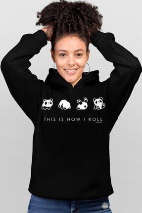 Rock & Roll Panda Taklası Siyah Kapşonlu Kadın Sweatshirt
