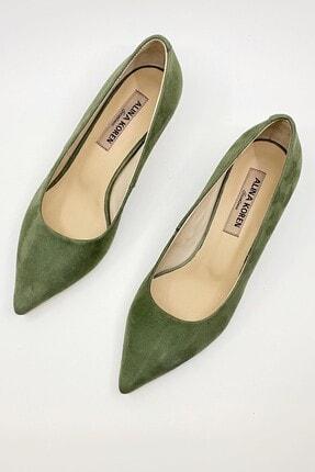 ALINA KOREN Kadın Haki Süet Klasik Topuklu Ayakkabı