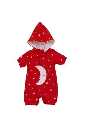 bebegen Unisex Bebek Kırmızı Ay Yıldız Kısa Kollu Kapşonlu Tulum