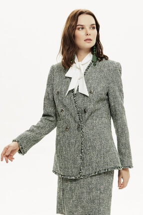Naramaxx Kadın Yeşil Channel Püsküllü Blazer Form Tüvit Ceket