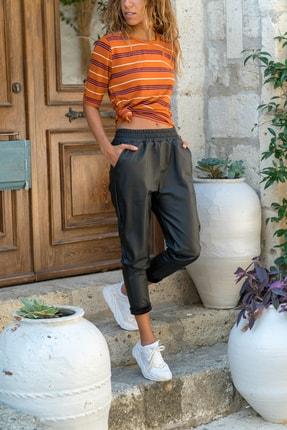 Güneşkızı Kadın Siyah Beli Lastikli Cepli Bol Kesim Deri Pantolon GK-GGN60